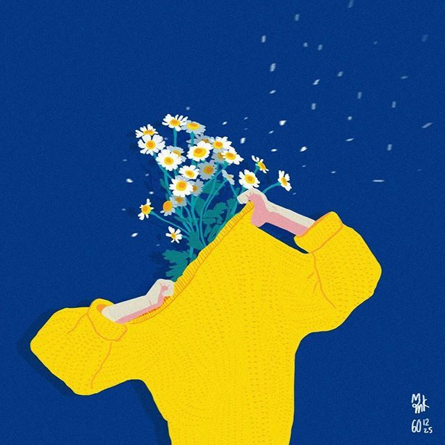 Flowers guy with my fav colors in 2017 #illustration  #flowers #yellow #blue