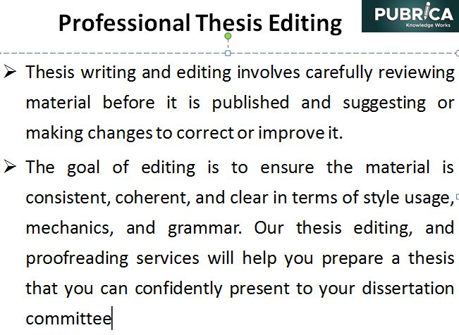 Copy editor for dissertation