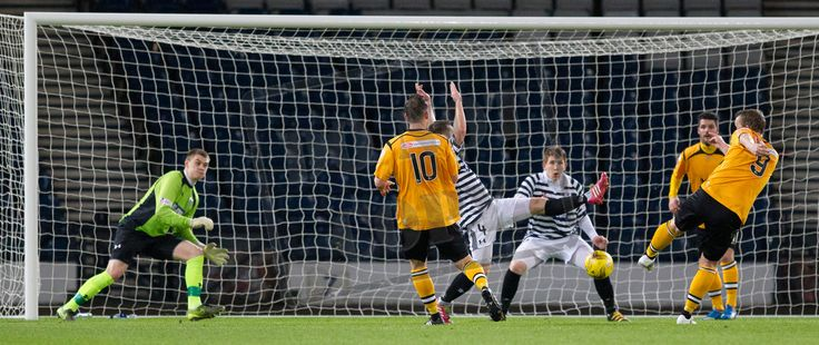 Annan Athletic's Peter Weatherston scores his second goal during the SPFL League Two game between Queen's Park and Annan Athletic.