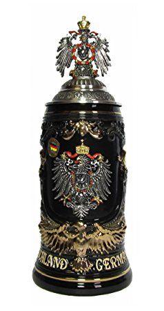 Boccale da Birra tedesco con lo scudo della Germania, manico a forma di un´acquila d´orata 0,6 litri