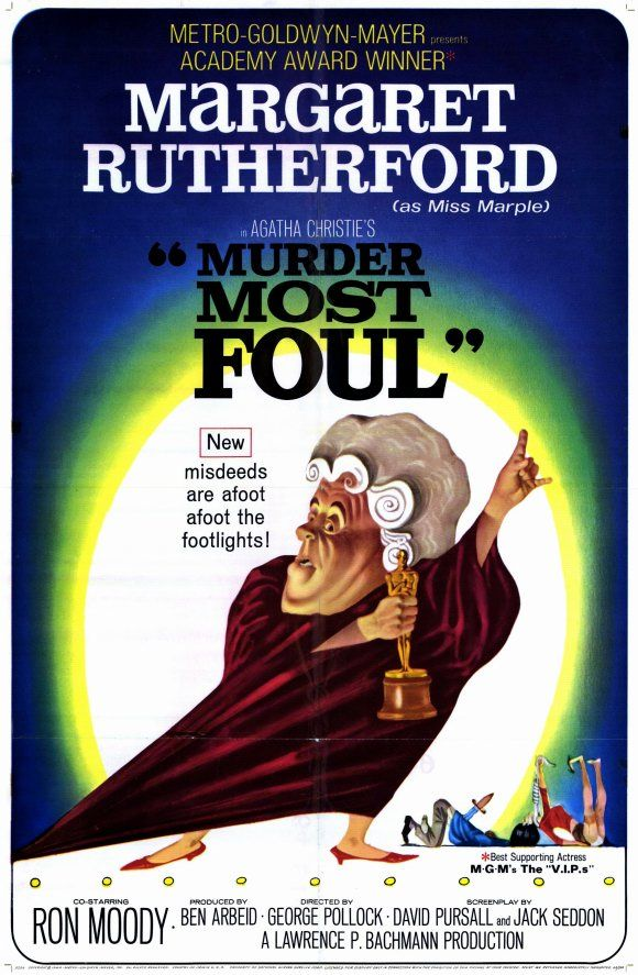 """MURDER MOST FOUL (1964) -- Margaret Rutherford as Miss Jane Marple based on A.Christie Hercule Poirot's """"Mrs. McGinty's Dead"""""""