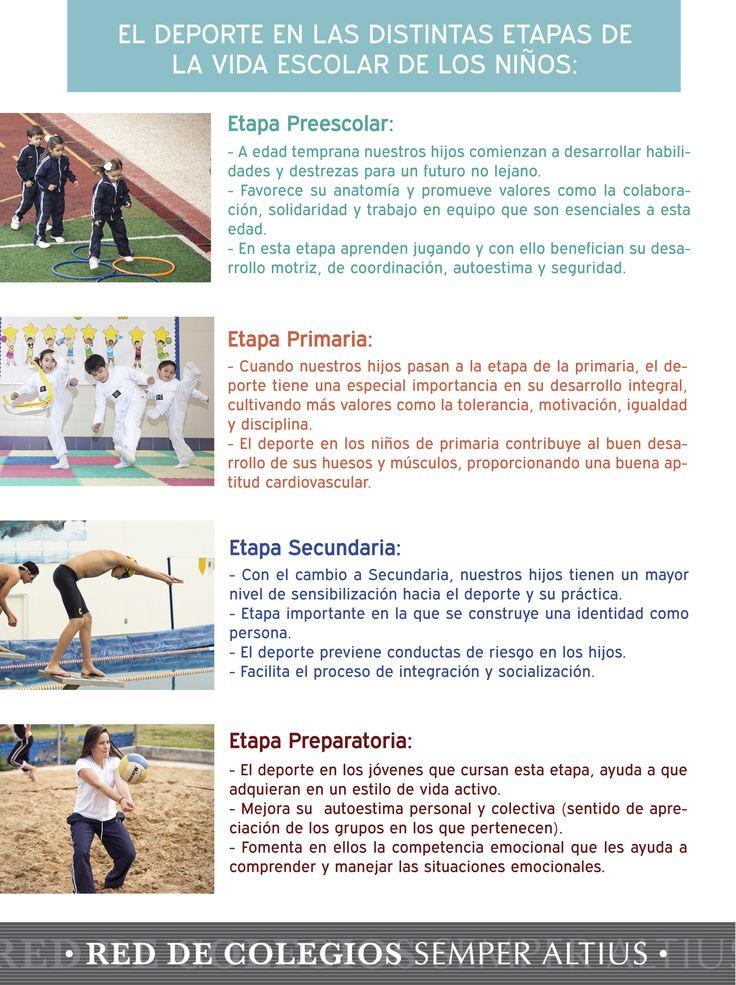 El deporte no sólo beneficia físicamente sino también emocionalmente, es por eso que les compartimos los beneficios que tiene el deporte en las distintas etapas de la vida escolar de nuestros hijos. #DeportequefavoreceVirtudes #SemperAltius