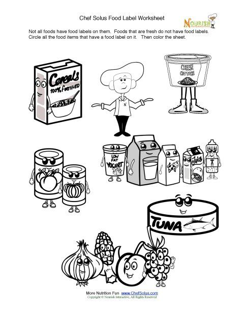 Printable - Fun Food Label Activity & Coloring Sheet