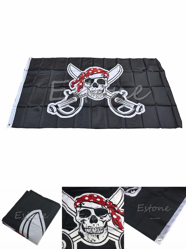 [Visit to Buy] (THINKTHEDO)Large Pirate with Bandana 90*150cm Flag Skull and Crossbones Jolly Roger Banner APR14_17 #Advertisement