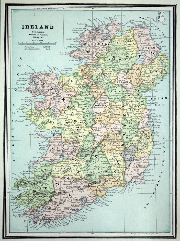 1888 Antique Map of Ireland 45 best