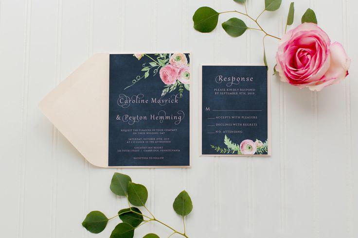 Wedding Invitations, Navy Wedding Invitation, Blush Wedding Invitation, Navy Chalkboard, Blush Peonies 005 by WhiteLaceDesign on Etsy https://www.etsy.com/listing/239826712/wedding-invitations-navy-wedding