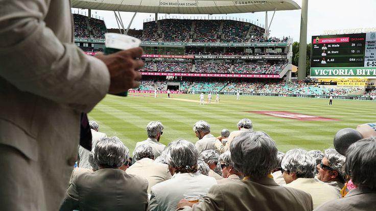 Hundreds of Australian cricket fans dress up like Richie Benaud