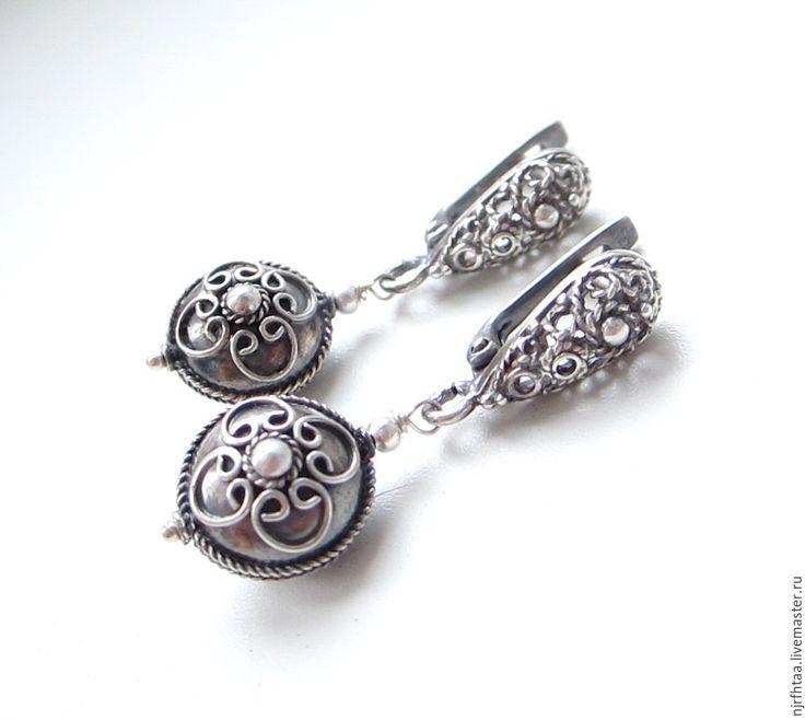 Silver earrings / НЕОБИТАЕМЫЙ ОСТРОВ серьги - серебряный, серьги ручной работы, серьги без камней