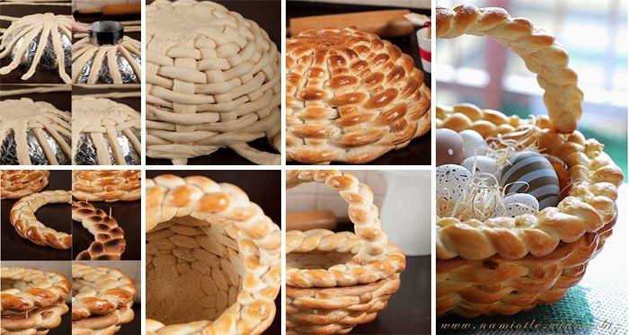 Vytvorte si krásny veľkonočný košík z kysnutého cesta. Výroba košíka je veľmi jednoduchá a zábavná.