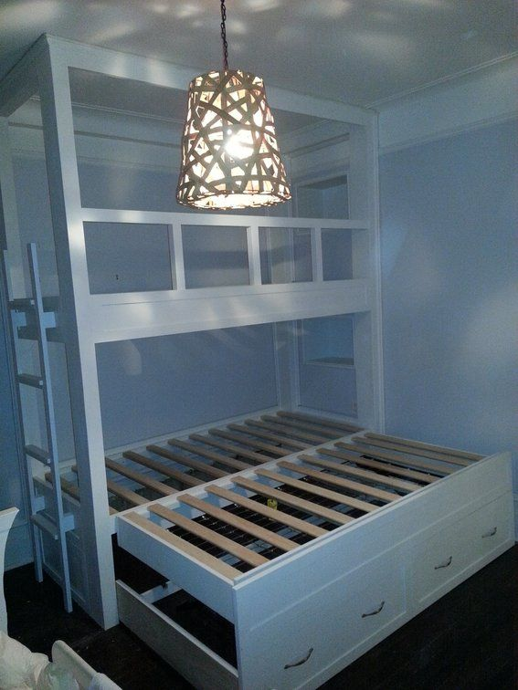 built in twin beds | Handmade Twin Over Twin Built-In Bunk Beds With Pop-Up Trundle by AJC ...