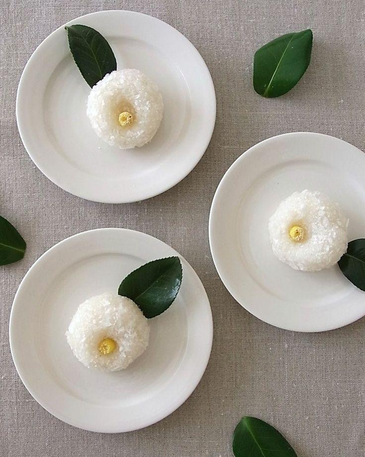 """椿 Fool-the-eye """"camellias-- Japanese sweets w/ coconut"""