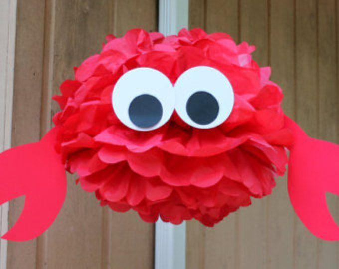 Crab tissue paper pom pom kit  under the sea ocean water mermaid decoration