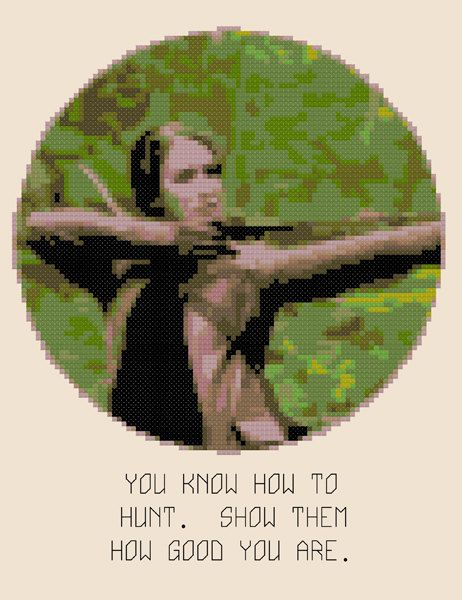 The Archer  Hunger Games CrossStitch Work  FINISHED by hilodevida, $35.00