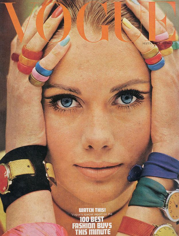 September 1966 British Vogue cover. Lots of rings and cool eyeliner in the crease.