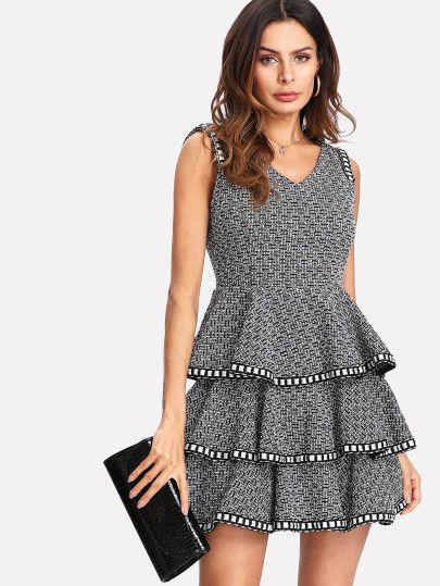 f91771d6e5 SHEIN Woven Tape Trim Layered Tweed Dress dresses