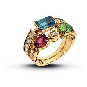 bvlgari rings collection famous for colored stones especially sapphires mixed in unique formats bvlgari