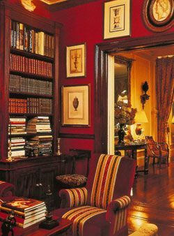 Mark Hampton ~ Library in the home (at the time) of Katherine and Shelby Bryan.