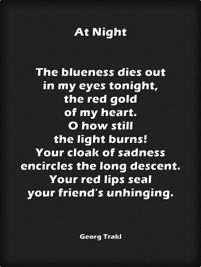 At Night  by Georg Trakl