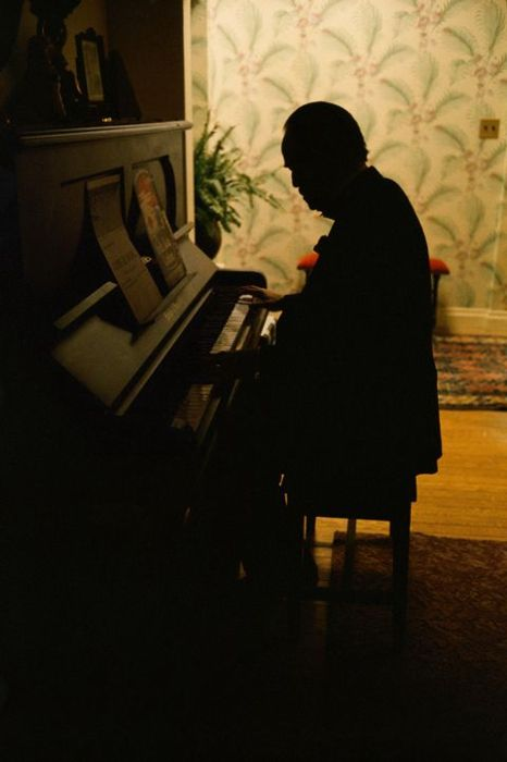 Brando at the piano during the filming of The Godfather    (Steve Schapiro, 1972)