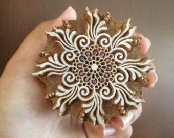 Wood Block Printing Hand Carved Indian Wood Textile Block Stamp Circular Flower Stamp NDNPooja Motif