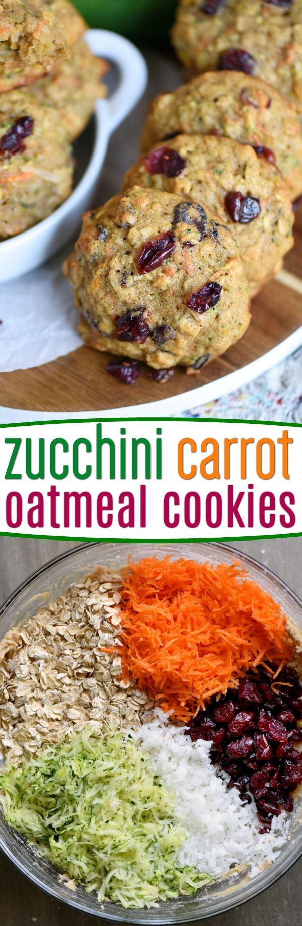 These amazing Zucchini Carrot Oatmeal Cookies are packed full of zucchini, carrots, oatmeal, dried cranberries, and coconut!  All the good stuff! The perfect after school snack! // Mom On Timeout #zucchini #carrot #oatmeal #coconut #cookies #recipe #dessert #breakfast #snack
