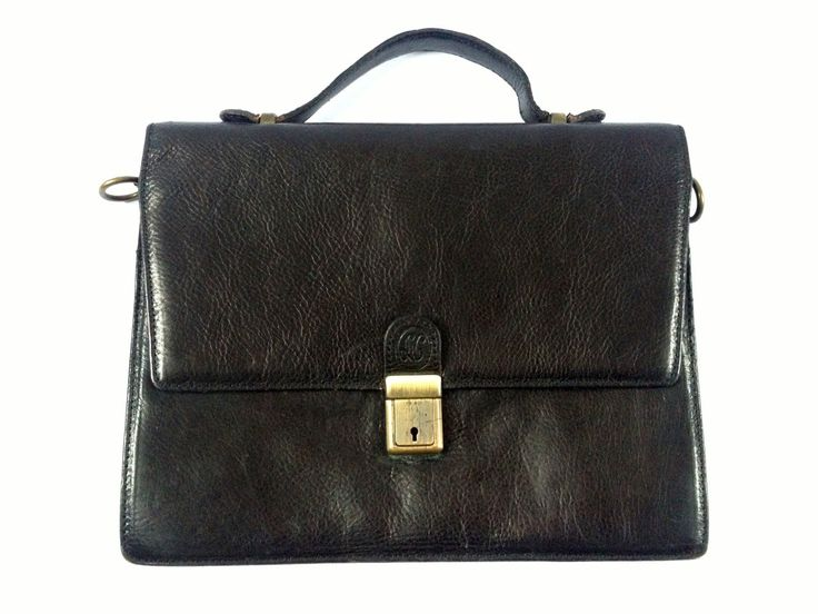 Black Leather Briefcase. Vintage Black Leather Messenger Bag. Vintage Leather Satchel. Black Messenger. Black Leather Briefcase. Briefcase by Tukvintage on Etsy