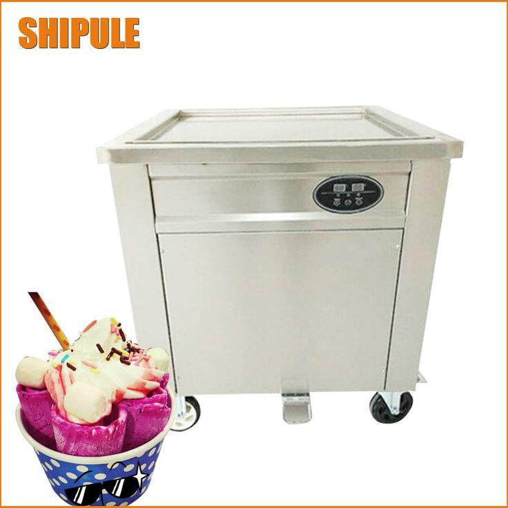 Free shipping 60cm big pan rolled fried ice cream machine single square pan thailand ice roll machine ice cream maker
