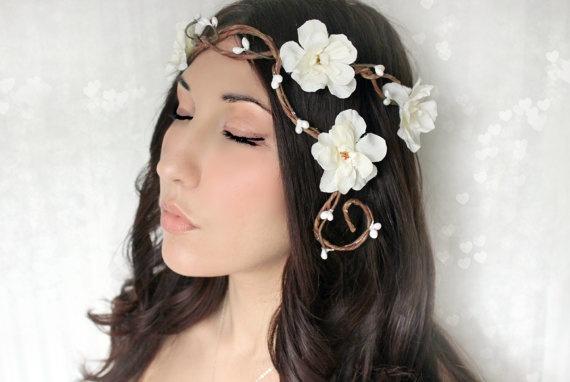 Wedding Flower Crown Woodland Headband fairy wedding by deLoop, $50.00