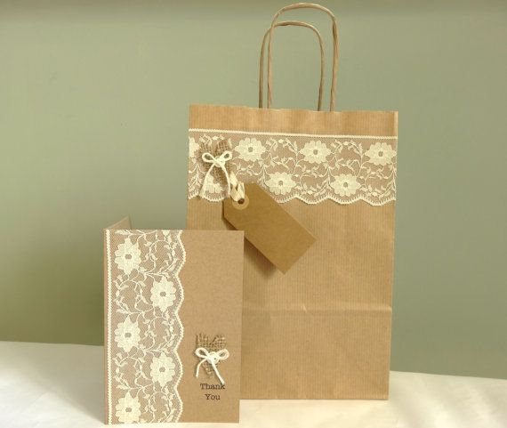 Wedding gift bag and personalised thank you card  by FluffyDuck