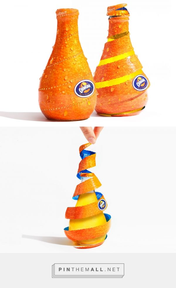 Orangina Sprial Peel packaging design concept by Yuko Takagi (Orangina In-house) - http://www.packagingoftheworld.com/2016/12/orangina-sprial-peel.html