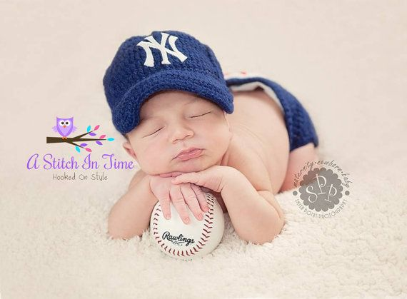 New york yankees Baseball Team Baby Crochet Hat, Cap, Beanie, and Diaper Cover Photo Prop Outfit Set for Newborn-12 Months on Etsy, $30.00