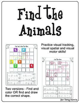 Find the Animals – Visual Tracking, Visual Spatial and Visual Motor Activity – Lisa Robinson