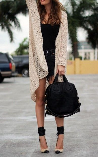 jeans skirt with long cardigan and handbag