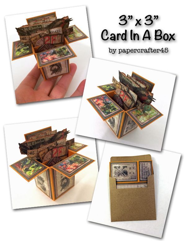 """If you're loving the Card In A Box technique, how about scaling it down … a whole lot! This 3"""" x 3"""" Card In A Box created by papercrafter45 is easy to make … and simply adorable! Card shown is matted with the 8"""" x 8"""" """"Menagerie"""" paper stash from Tim Holtz."""