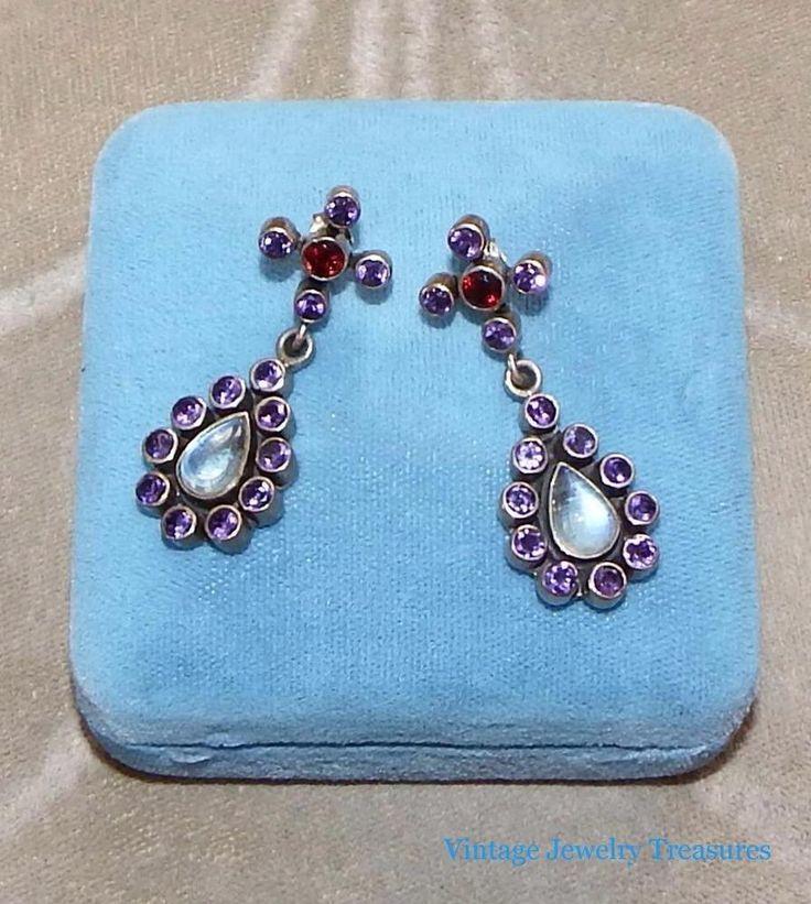 Nicky Butler Multi gemstone Sterling Silver Chandelier Earrings Estate Find #NickyButler #Chandelier