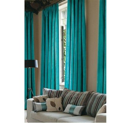 Buy Faux Suede Blackout Curtains Teal | Curtains | The Range