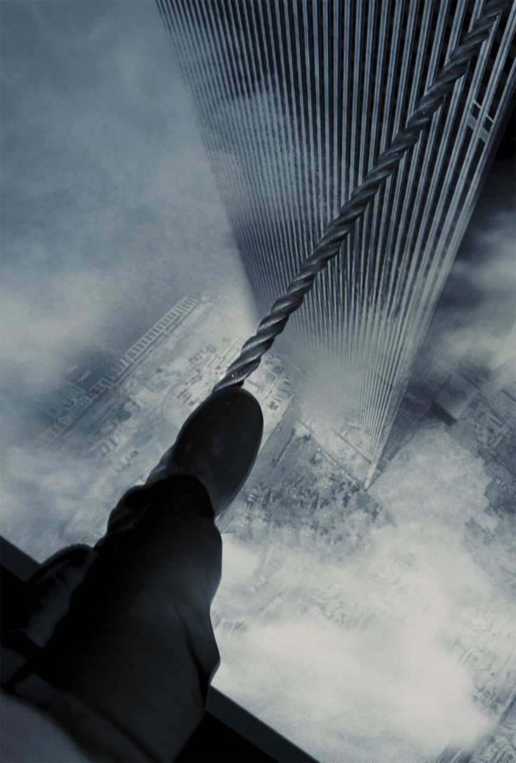 """NYC. """"Man on Wire"""" -Philippe Petit crossing on a rope between the Twin Towers,  in 1974."""