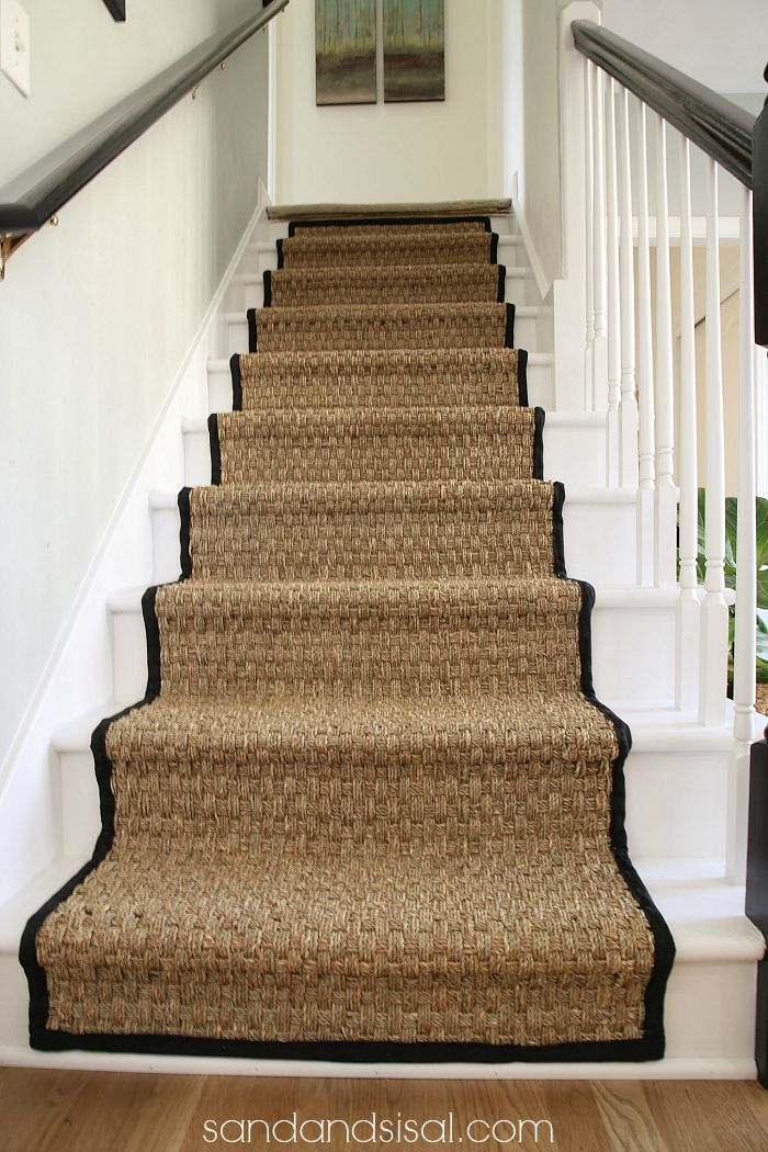 Painted Stair Makeover   Seagrass Stair Runner