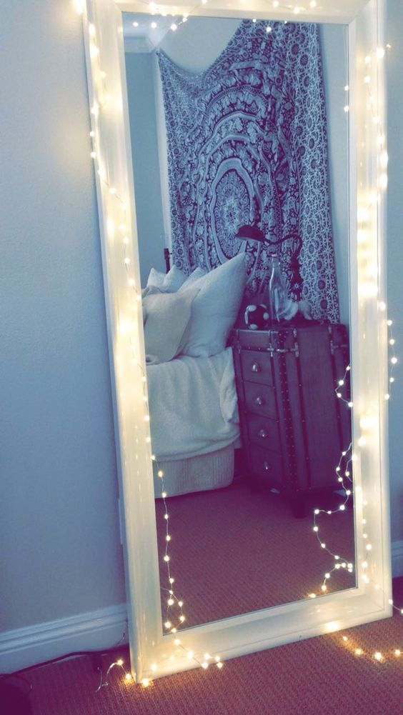 Tapestry boho black white teen bedroom twinkle lights:
