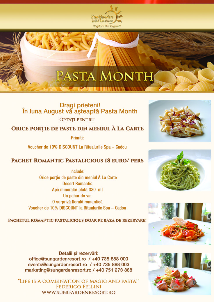 Pasta Month Specials - Sun Garden Resort