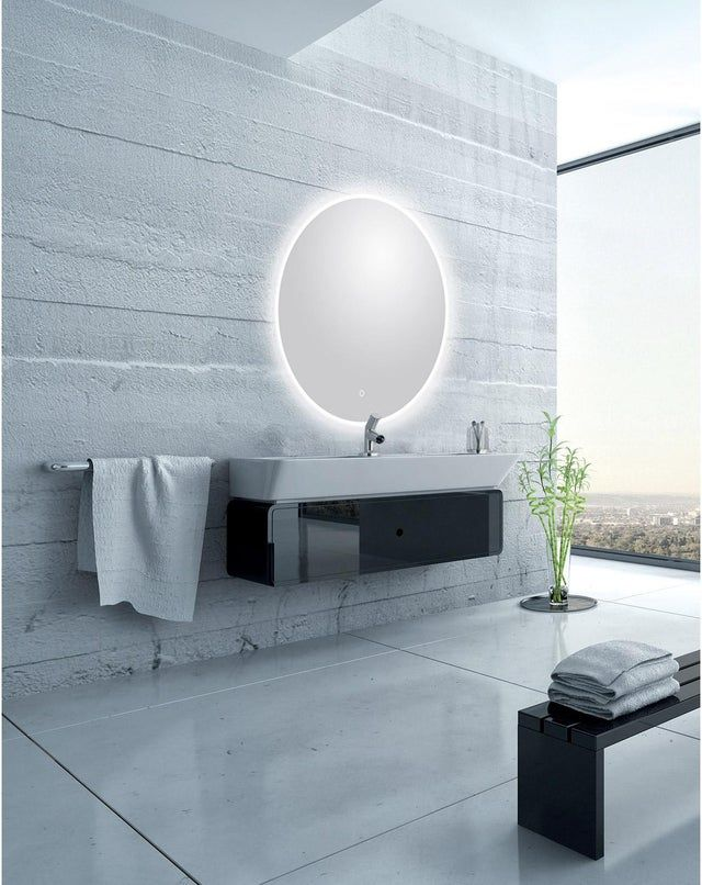 Miroir Lumineux Avec Eclairage Integre L 120 X H 120 Cm Renzo Leroy Merlin Miroir Salle De Bain Miroir Lumineux Miroir Lumineux Salle De Bains