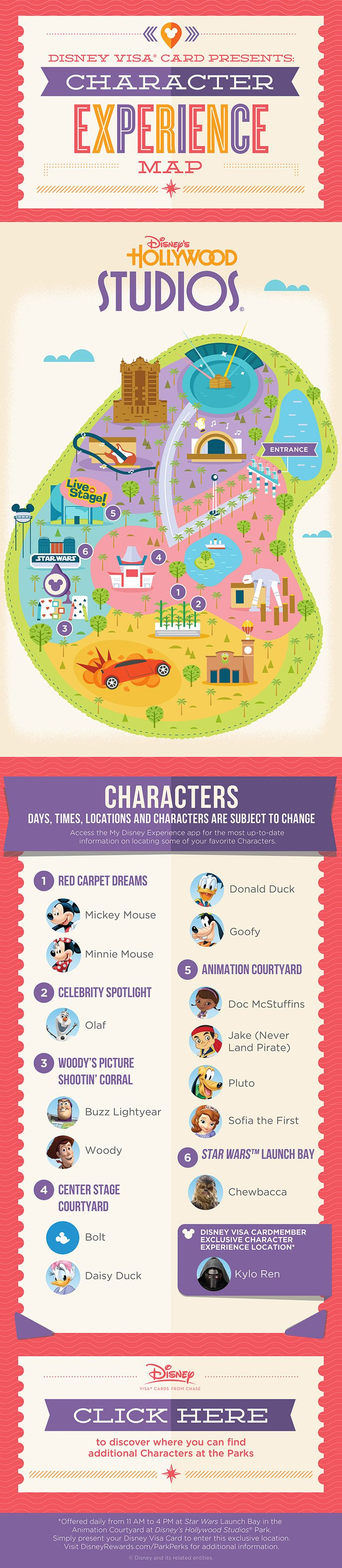 How's this for a red carpet treatment? This guide to Characters throughout Disney's Hollywood Studios® shows where to find them and who to expect, so get that autograph book ready. Don't forget to check the My Disney Experience app for possible time changes!
