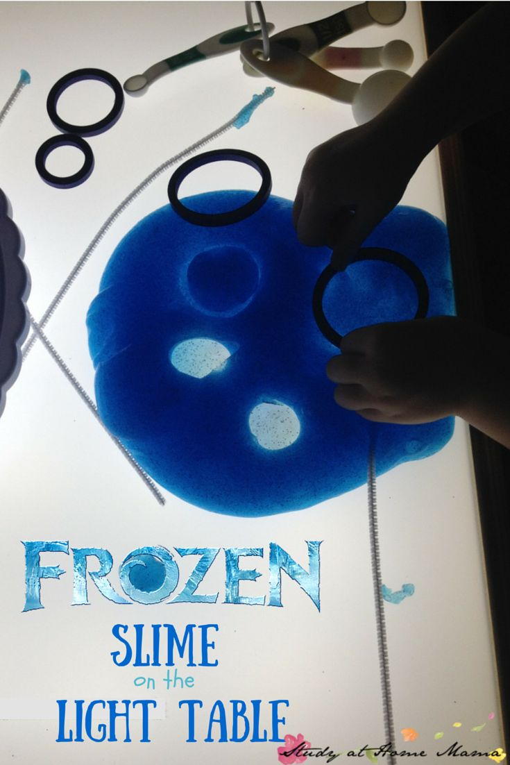 Frozen Slime on the Light Table, a squishy and cool science experiment meets sensory play. Learn about light diffusion, shapes, and patterning while having some Frozen fun!