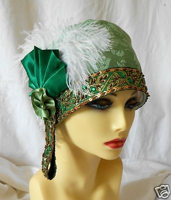 1920s Vintage Inspired Green Turban Cloche Hat Flapper Gatsby Downton | eBay                                                                                                                                                     More