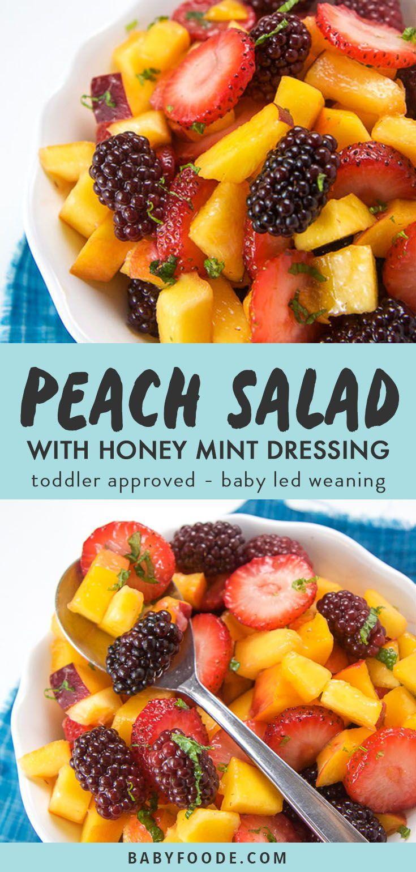 Peach Summer Fruit Salad With Mint Honey Dressing Recipe Summer Salads With Fruit Summer Salad Recipes Peach Salad [ 1540 x 735 Pixel ]