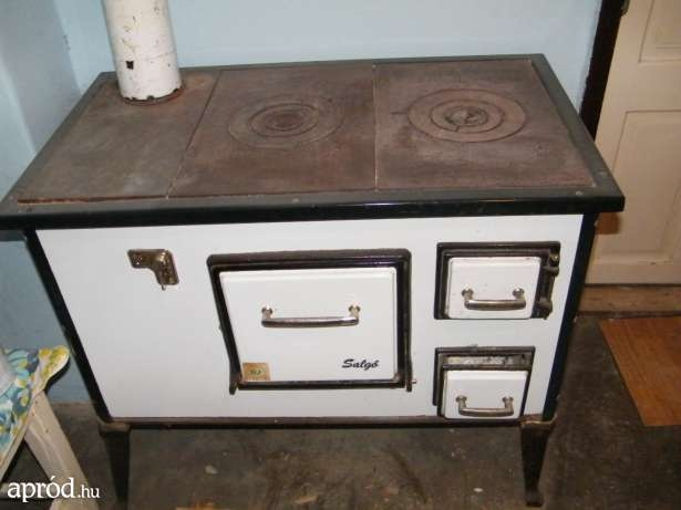 Old cast iron wood cooking stove, like my grandma used to cook on.