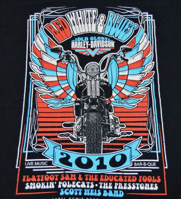 Old Glory Harley Davidson Medium Red White Blues American Music Fest T Shirt