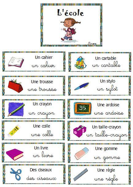 vocabulaire mur de mots la rentrée, l'école                                                                                                                                                                                 Plus