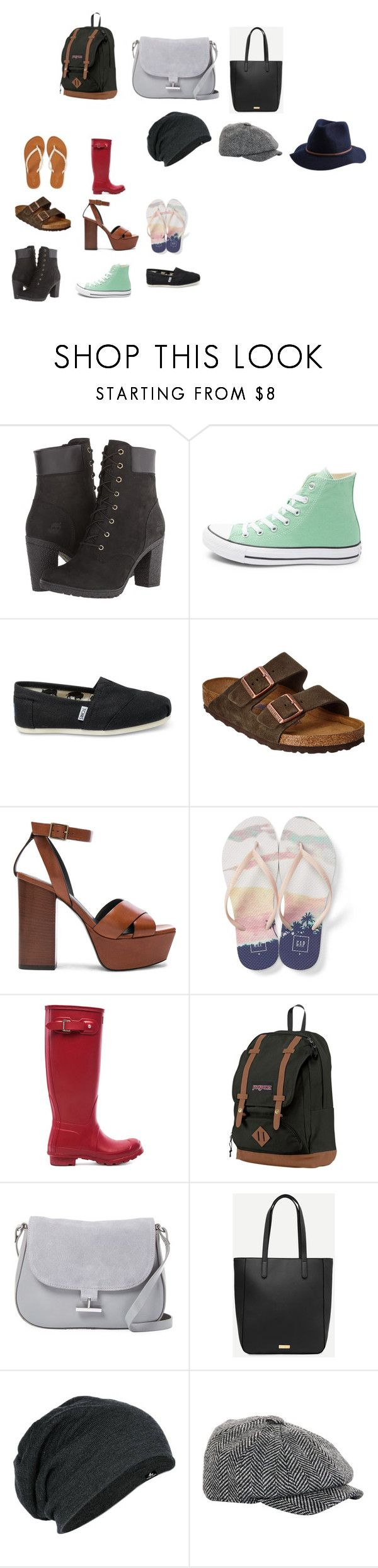 """""""Head to Toe"""" by writerchic1111 on Polyvore featuring Timberland, Converse, TOMS, Birkenstock, Yves Saint Laurent, Gap, Aéropostale, Hunter, JanSport and Halston Heritage"""