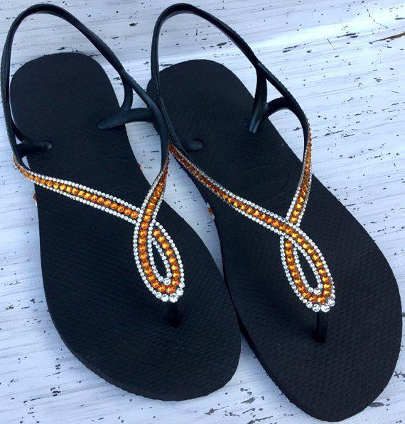 21bc354a6ae289 Black Orange Tangerine Flip Flops Havaianas Slim Crystal LUNA Infinity  Custom w  Swarovski Rhinestone Bling Jewel Ladies Wedding Sandal Shoe